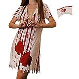 LAEMILIA Halloween Kostüm Zombie Krankenschwester Nurse Blutiges Kleid Krankenschwesterkostüm Hut Fasching Karneval Party Dress Up In 5 Muster