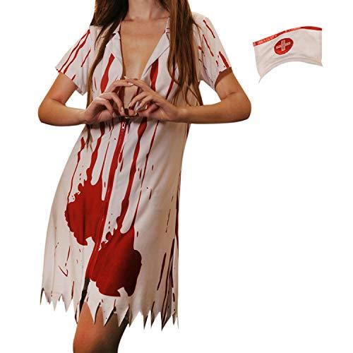 (LAEMILIA Halloween Kostüm Zombie Krankenschwester Nurse Blutiges Kleid Krankenschwesterkostüm Hut Fasching Karneval Party Dress Up In 5 Muster)