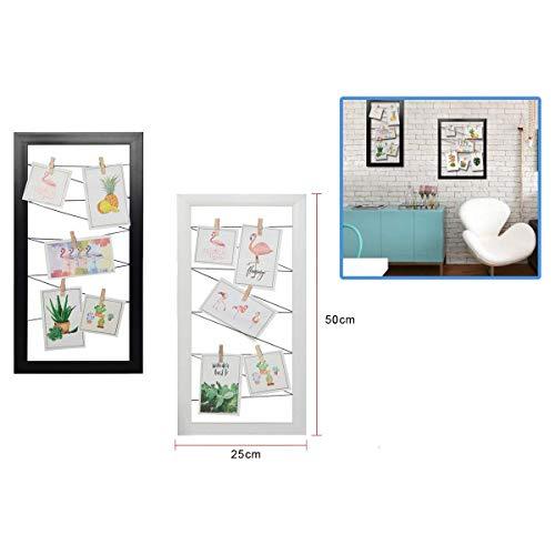 Dabuty Online, S.L. Marco para Pared Decoracion con Cuerdas para Colgar Fotos. Color Negro. Medidas 25x50cm.