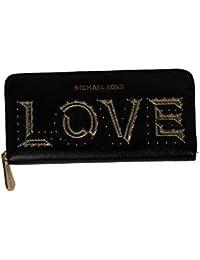 a4a5afec7bd0e Michael Kors Damen Brieftasche Geldbörse - Schwarz mit Goldener Love  Beschriftung