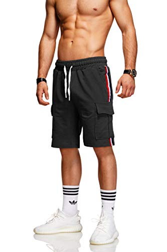 behype. Herren Sweat-Shorts Kurze Hose Sport-Hose Jogging-Hose Trainings-Hose Freizeit Side-Stripe 60-8110 Schwarz M