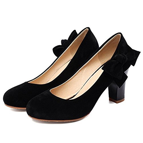 COOLCEPT Femme Mode Bloc Talon Hauts Escarpins Soiree Chaussures Mariage Avec Bow Noir