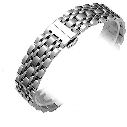 Adallor Massives Edelstahlarmband, Uhrenarmbänder Metall Ersatzband Uhrenarmband 18mm, 20mm & 22mm Metal Armband mit Faltschließe für Damenuhren, Herrenuhren
