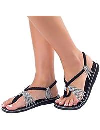 Juleya Hausschuhe Damen Zehentrenner - Mode Flip Flip Frauen Flach Strand Schuhe Offene Sandalen Badeschuhe Freizeitschuhe Braun 36