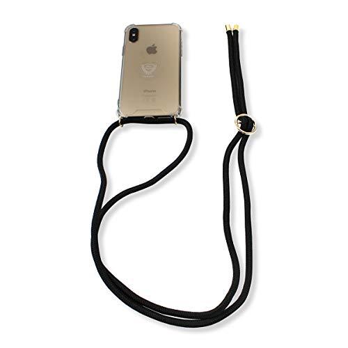 Sonia Originelli Handykette Schnur Necklace Hülle Smartphone Cover Schutz Farbe Schwarz, Größe Samsung Galaxy S6 Edge
