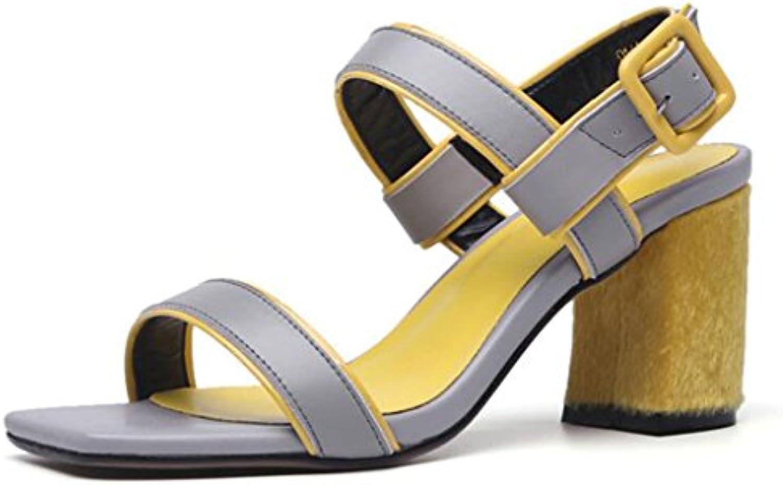 GAOLIXIA Sandalias de cuero con punta abierta para mujer Sandalias de cuña Zapatos de tacón alto Zapatos de tacón...