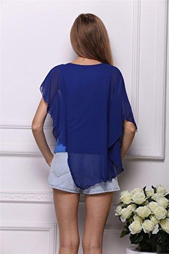 Estate Batwing Irregolare Manica Delle Donne Casuali Chiffon Hoody Magliette Tees Camicetta Blu reale