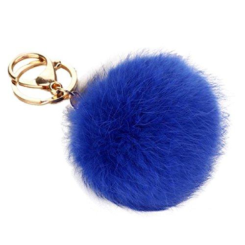 yogogo-kaninchen-pelz-kugel-keychain-beutel-plusch-auto-schlusselring-auto-schlussel-anhanger-blau