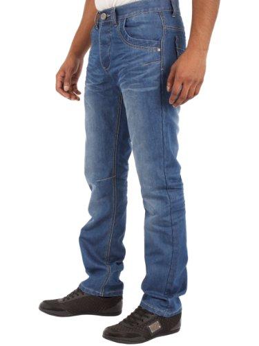 Neu Herren Enzo Designer Modisch Klassische Passform Gerade Jeans Hose Taille Größe 28-48 Helle Waschung