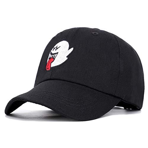 JKLGNN Dämon Baseball Cap Ghost Face Stickerei Hut atmungsaktiv Schirmmütze Hysteresenhut Reisen lässig Sport Hip Hop Rock Halloween Kleider 55-60cm,Black -