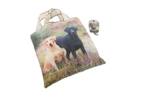 Lab on Moor Fold Away Shopping Bag in a Bag - Gold & Black Labrador on reusable tote