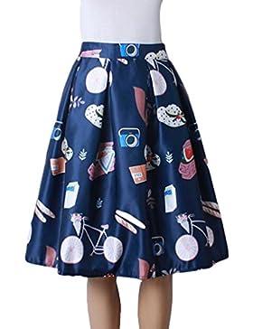 ZKOO De Estilo Vintage Impresos Completos Mujeres Plisadas Nuevas Faldas De Cintura Alta Midi