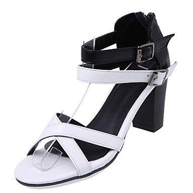 LvYuan Sandali-Casual-Suole leggere-Quadrato-Finta pelle-Marrone Bianco White