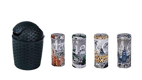 Kaffeepaddose mit Madrid-Rom-Prag und Wien Motiven + Rattan-Design schwarz 1,2 Liter Tischeimer für...