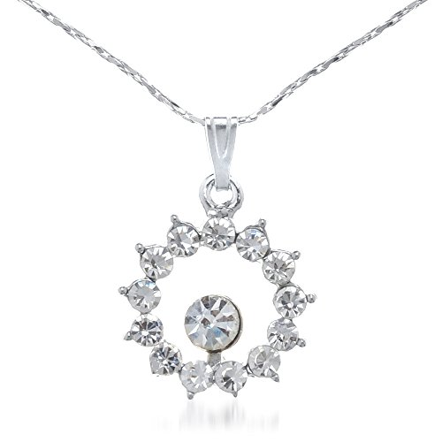 Glitz & Glitter Zinc Alloy Silver Color Pendant with Chain - 1202610  available at amazon for Rs.129