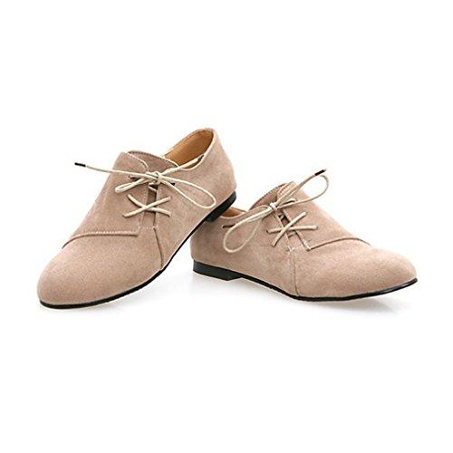 Senhoras Ata Acima Brogues Rodada Toe De Couro Nubuck Lisa Baixos Sapatos Casuais Estilo Britânico Sapatos Confortáveis respiráveis bege