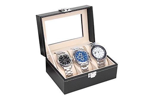 Uhrenkasten Uhrenbox Uhrenkoffer für 3 Uhren Aufbewahrung für Uhren Uhrenschatulle Speicher für...