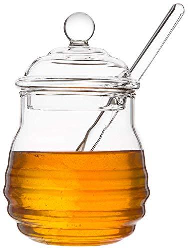 Mkouo Glas honigtopf mit Honigbehälter Honig Löffel Zum Servieren von Honig und Sirup, 9 Ounces (265ml)