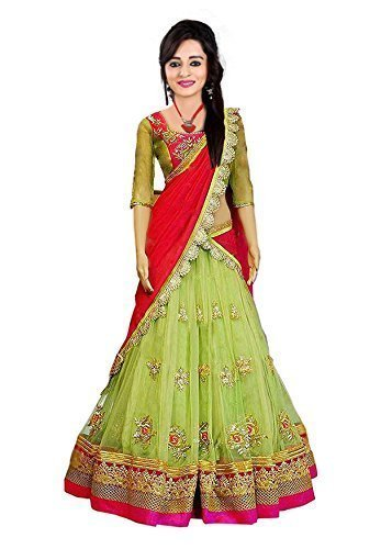 Granthi Creation Women's Net Semi-Stitched Lehenga Choli (Green_Free Size)