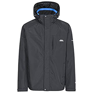 Trespass Edwards II, Black, XS, Waterproof Jacket with Concealed Hood for Men, X-Small, Black