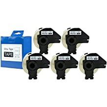 5 x DK-11204 Cinta adhesiva multipropósito de etiquetas multiuso color Blanco para impresosras Brother P-Touch QL-700 QL-720NW - 17 mm x 54 mm - 400 piezas - Paquete de 5 unidades
