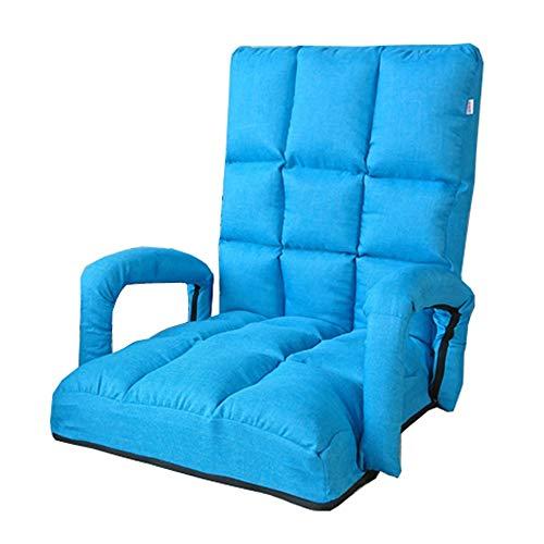 LJFYXZ Chaise de Sol Canapé Pliant Simple Réglage à 5 Vitesses avec accoudoirs Confortable sans Jambes Fauteuil Salon Chambre Chaise Longue (Couleur : Bleu)