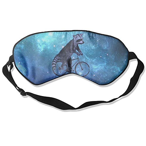 Raccoon On A Bike Do Sports Natural Silk Sleep Mask & Blindfold Super-smooth Eye Mask -