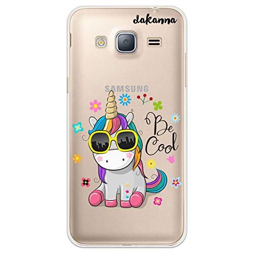 dakanna Custodia per Samsung Galaxy J3 - J3 2016 | Unicorno con Occhiali e Frase: Be Cool | Cover in Gel di Silicone TPU Morbido di Alta qualità con Sfondo Trasparente