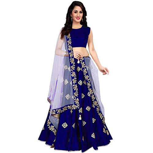 Esencee Embroidered Taffeta Satin Semi Stitched Lehenga Choli For Women