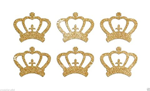 24 Gold Crowns Self Adhesive Glitter Stickers Card making craft diy 1 inch