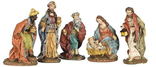 Guirma presepe natalizio con 5 personaggi - natività addobbi natalizi, 8 cm circa