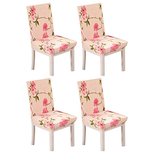 KING DO WAY Set of 4 Removable Stretch Slipcovers Short Dining Room Chair Seat Cover Wedding Party Pink Flower