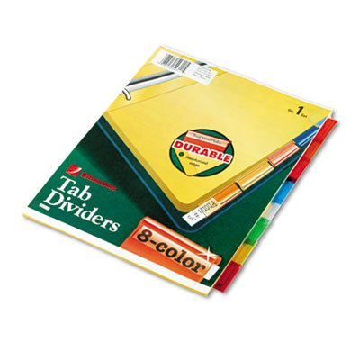 Single-Sided Reinforced Insertable Index, Multicolor 8-Tab, Letter, Buff, 8/Set, Sold as 1 Set