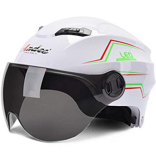 QFYD FDEYL Casco da Moto Crash Modular,Casco Autunnale a Pedale, Casco per Motociclo Elettrico Mezzo Pacchetto-bianco1,Casco Integrale del Motociclo antifo