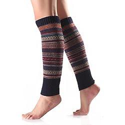 ZARU 1 Par Mujeres del ajuste de la raya hizo punto la media de la cubierta de la pierna Calcetines (Armada)