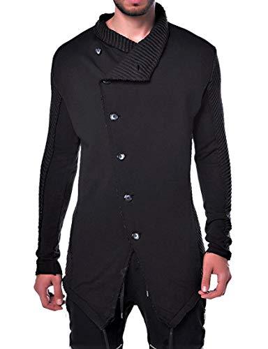 Camouflage Oversize Designer Sweat Jacke Cardigan Hoody Pullover Shirt Herren Hoodie Longsleeve m NEU Kapuzenpullover Long Sweatjacke Skater hip hop Sweatshirt Pulli Longshirt Body (M, Black)
