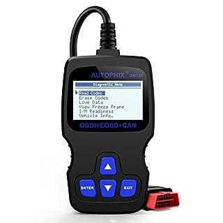 OBD2 Diagnosegerät, Autophix Auto code reader zum Lesen und Löschen von Fehlercodes Funktioniert bei allen PKWs mit OBD II Protokolle und mit standardem 16-pin OBD-II Schnittstelle BJ. ab 2000 (Schwarz)