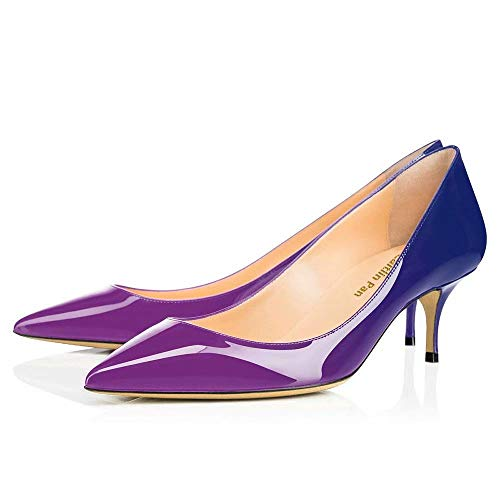 8ee1e97e1b62da Caitlin Pan Women s 6CM Pointed Toe Kitten Heel Patent Leather Dress Party  Pumps Work Court Shoes