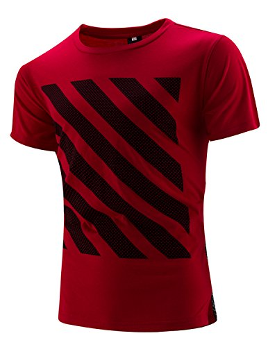 YCHENG Mode Herren Casual Sommer T-Shirt Kurzarm Rundhals Slim Fit Tops Rot