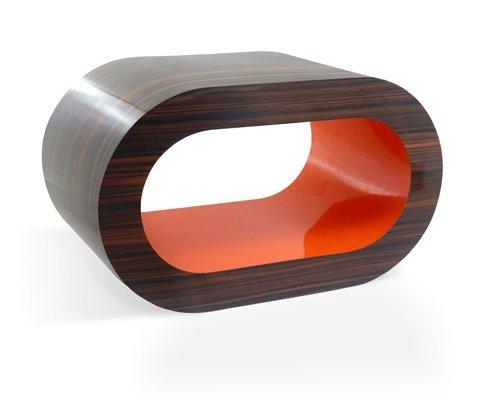 Retrò a Righe Noce e Arancione Cerchio Tavolino / TV Basamento in Varie (Noce Ovale Tavolino)