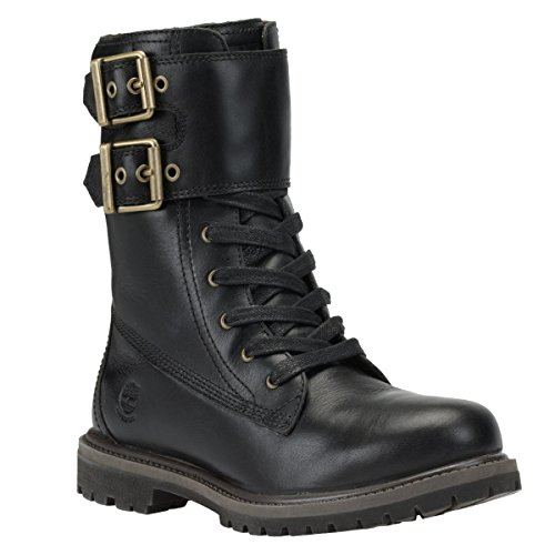 Timberland Women s Earthkeepers 6  Premium 8  Double Strap WP Boot Black Leather