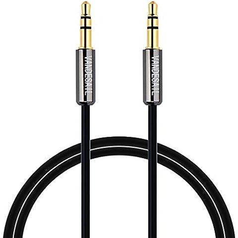VANDESAIL - Cable de audio estéreo, conector macho de 3,5 mm a conector macho de 3,5 mm Oro plateado Jack a jack de audio estéreo Aux Cable auxiliar para iPhone, Samsung, Tablet, Coche,