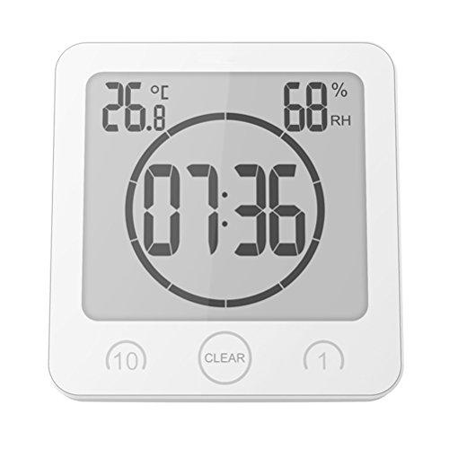 VORCOOL Digital Ducha Despertador Temporizador Resistente al Agua Temperatura Humedad Metros Baño Aspiración Reloj (Color