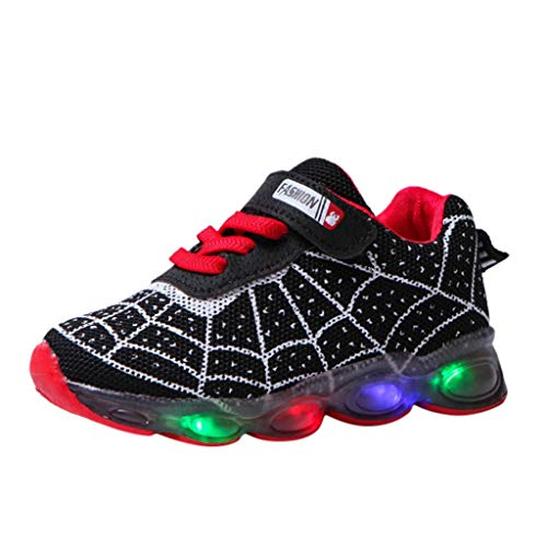 LED leuchtende Bunte Cartoon Sneaker Spinnennetz Turnschuhe Unisex Kinder Jungen Mädchen Sportschuhe leichte Schuhe HDUFGJ29 EU(Schwarz)