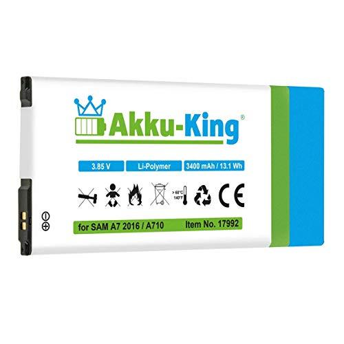 Akku-King Akku kompatibel mit Samsung EB-BA710ABE - Li-Ion 3400mAh - für Galaxy A7 2016 Duos, Galaxy A7 2016 Duos TD-LTE, SM-A710, SM-A7100, SM-A7108 A710 Batterie