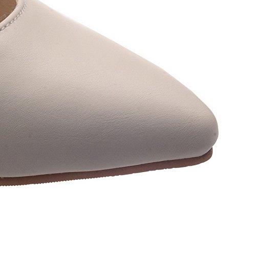 Dorteil Tagliente Scarpe Beige Colore Solido Voguezone009 Chiusura Tallone Alta Pelle Luce Donna Stato qBcfwa