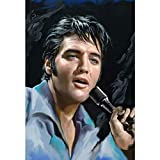 Leinwand Wanddekoration Runde Steinbohrer 5D Diy Diamant Malerei 'Elvis Presley' Stickerei Kreuzstich Mosaik Wohnkultur Fan Geschenk Vollbohrer Kunsthandwerk Wandaufkleber, JiangKui, 70 * 90cm(27.56*