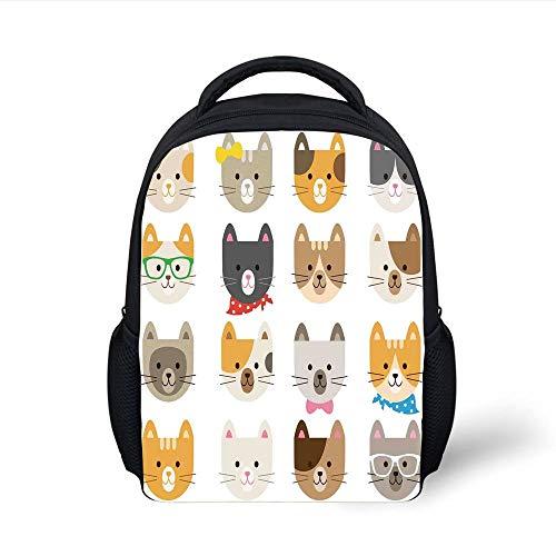 Kids School Backpack Kids,Cats Costume with Glasses Bow Tie Bandanna Cartoon Art Craft Pattern Print Pets Animal Lovers Print Decorative, Plain Bookbag Travel Daypack