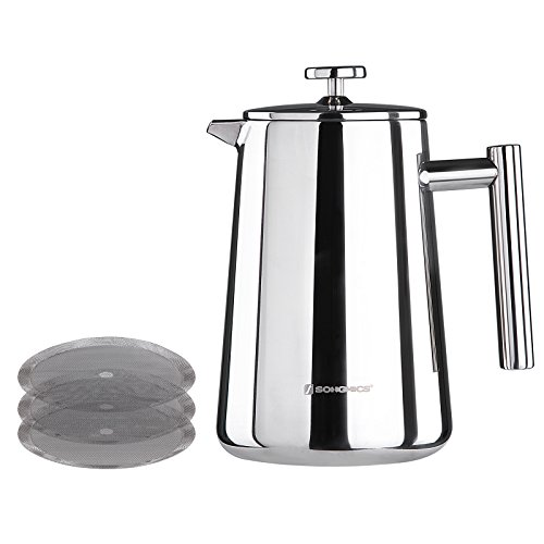 Songmics Stainless Steel Cafetiere French Press Double Walled Detachable with 2 Filters 1000ml Silver GCP13S
