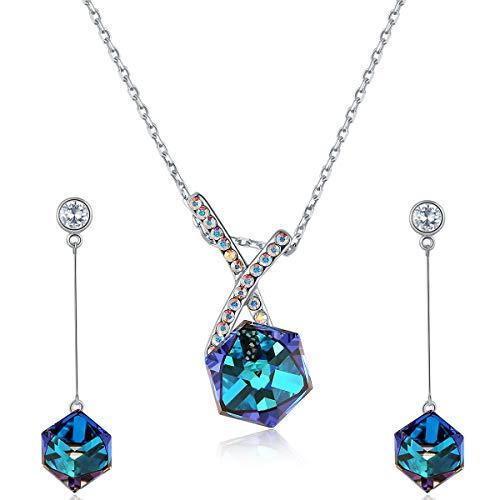 WANZIJING Damenschmuck Set, Saphir Anhänger Ohrringe Halskette Set mit Kristall Anhänger und Mode Ohrstecker für ()